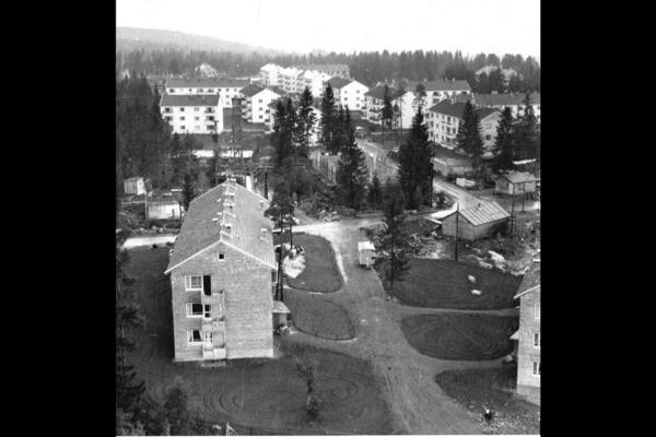 Lambertseter, den første store drabantbyutbyggingen, her med Marmorberget bortettslag. Blokka i høyre bildekant var den første innflyttningsklare på Lambertseter. Foto: Ballong foto, ca 1952