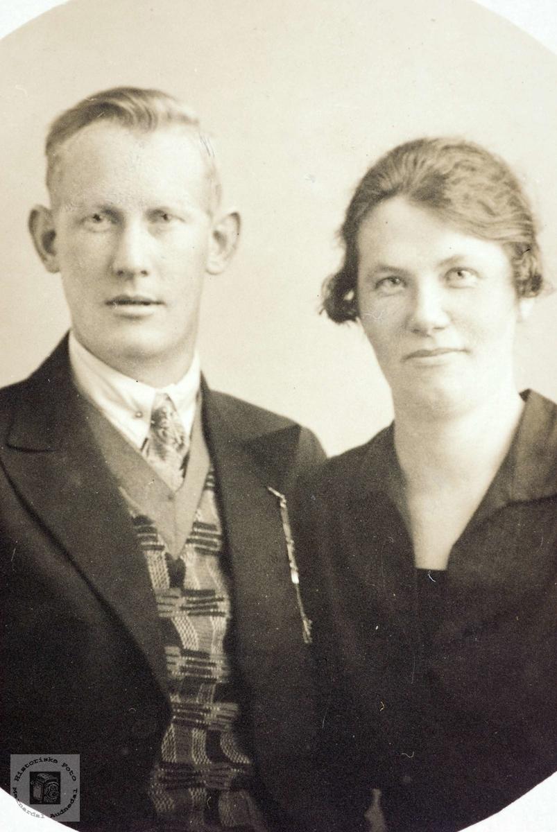 Portrett av ekteparet Knud og Randi Øydne. Grindheim Audnedal.