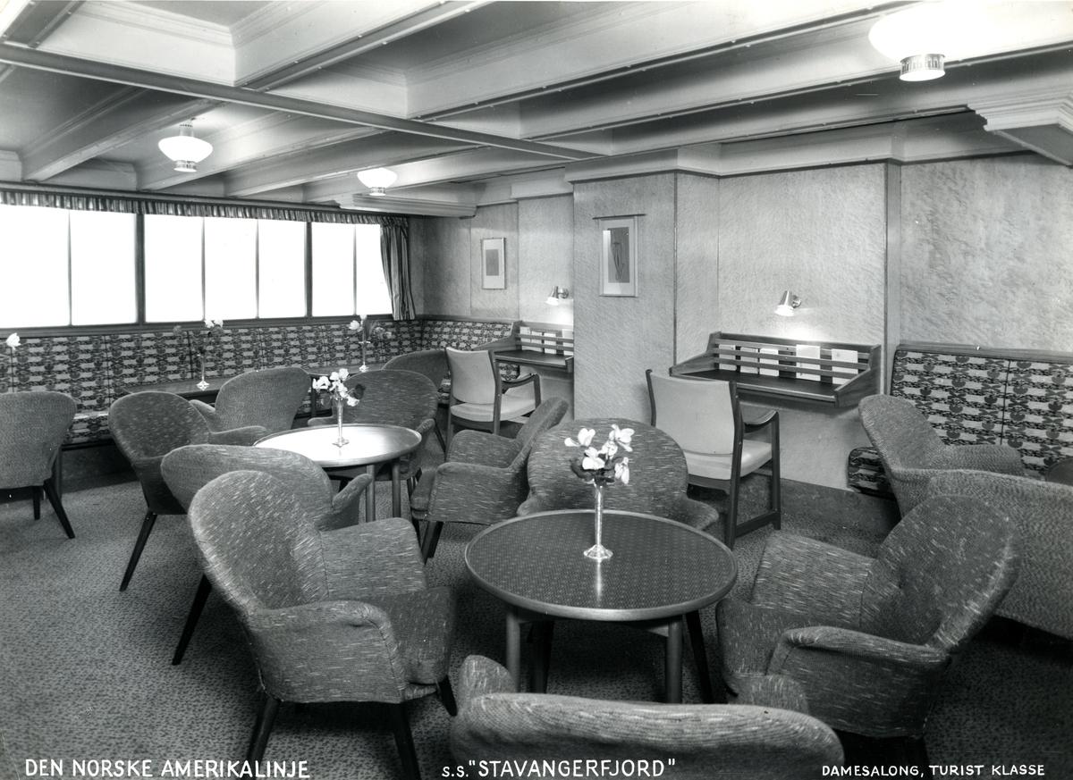 Damesalong, turistklasse, D/S Stavangerfjord (b. 1918, Cammell, Laird & Co., Birkenhead)