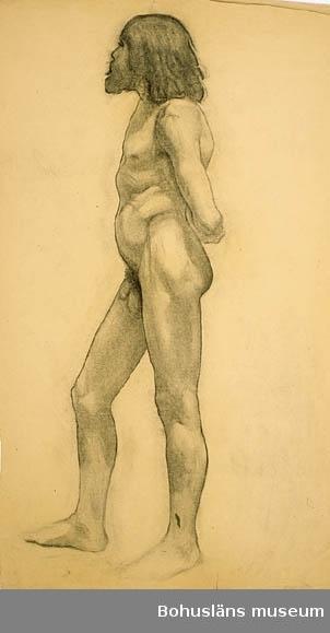 """Montering/ram: Omonterad, """"Stående man med händerna på ryggen."""" Tillkomstort Collarossi, Paris. För uppgifter om konstnären Ragnar Ljungman, se RL001."""