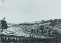 Maleri av tømmerrennene for Hafslundbruket.