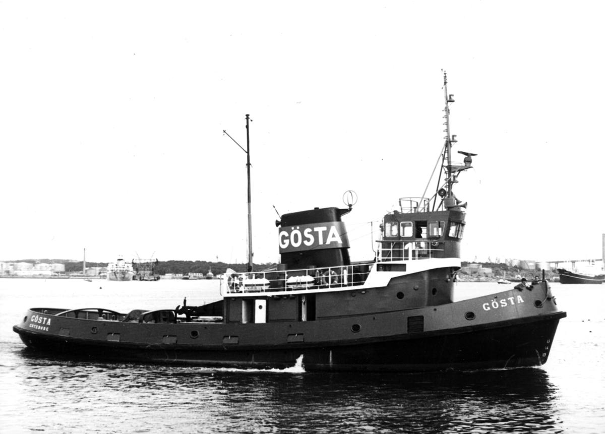 Fartyg: GÖSTA                          Reg. Nr.: 10923 Rederi: Göteborgs Bogserings och Bärgnings AB Byggår: 1968 Varv: Cochrane & sons, Selby, UK Övrigt: Fototillfälle 11/9 1971