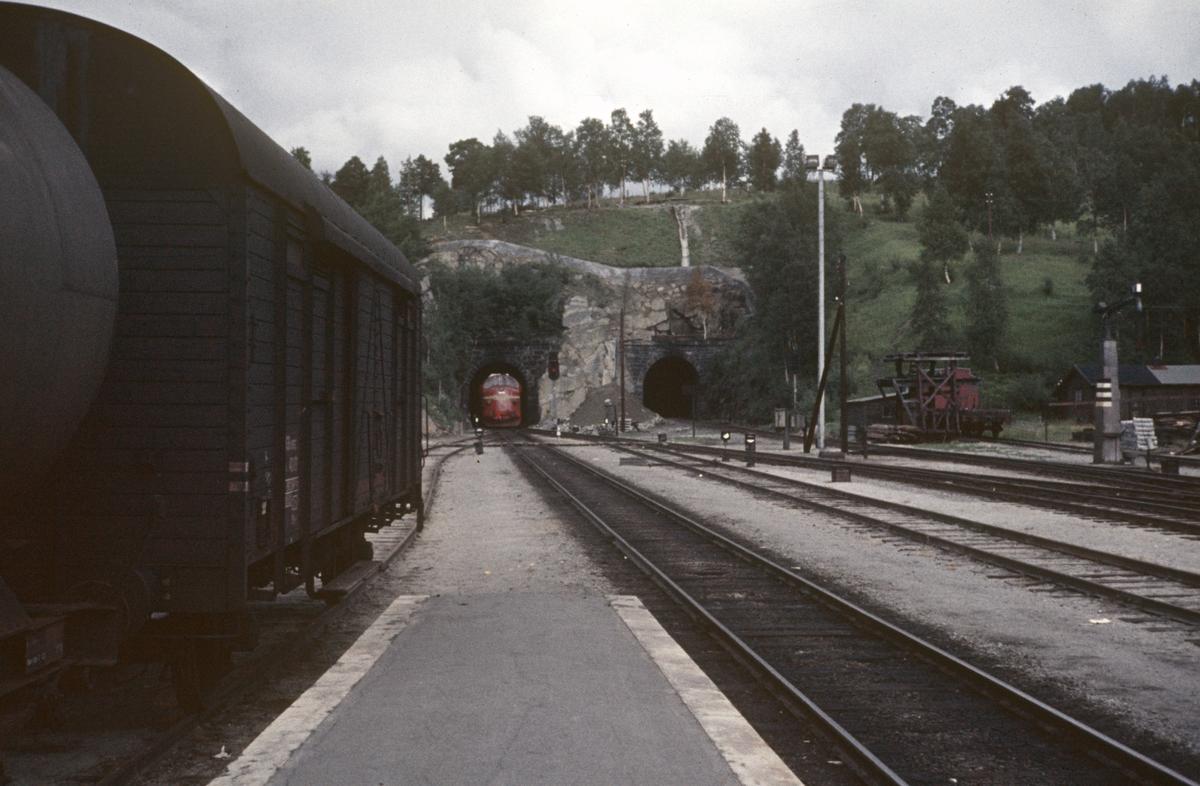 Fra Dombås stasjon. Toget fra Åndalsnes på vei inn på stasjonen trukket av lokomotiv type Di 3.
