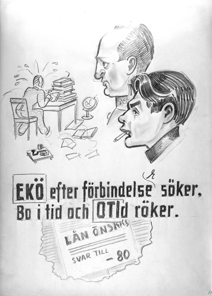 Karikatyrbild av militärer ur flygvapnet, 1930-tal.  Märkt 'EKÖ', 'OTI'.   Avfotograferad teckning.