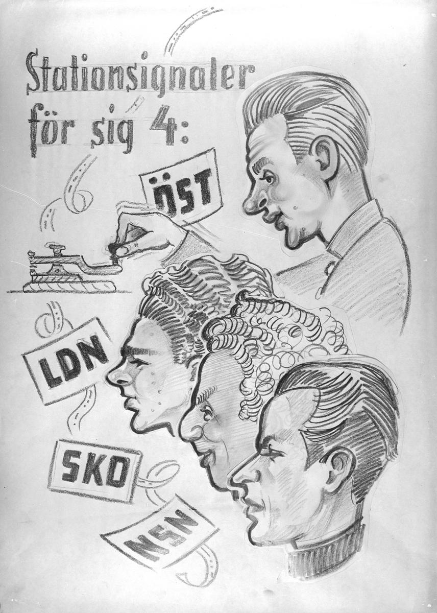 Karikatyrbild av militärer ur flygvapnet, 1930-tal.  Märkt 'ÖST', 'LDN', 'SKO', 'NSN'.   Avfotograferad teckning.