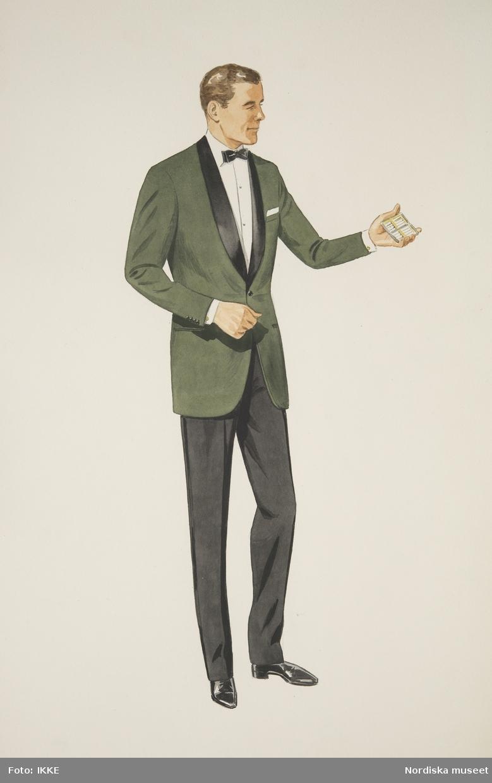 Modeteckning av man i smoking med grön smokingkavaj och cigarettetui i handen. Nordiska Kompaniets herrskrädderi.