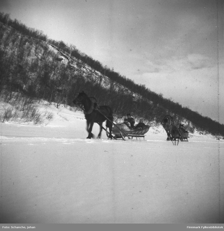 To hester trekker sleder på isen over Tanaelva påsken -48.  To menn, en i sameklær / pesk, og to kvinner kjører.