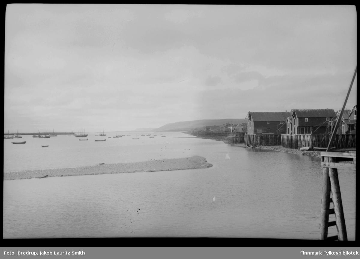 Vadsø havn fotografert mot øst.  Det er svært lavt vann, alle kaiene langs havngata ligger helt på det tørre.  Midt i bildet en stor mudderbanke med fugler.  Båter på havna, kaier og pakkhus.