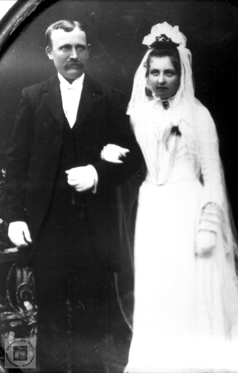 Bryllupsbilde til Torkel Nilson Øyslebø og Todne Olsdtr f. Heddeland
