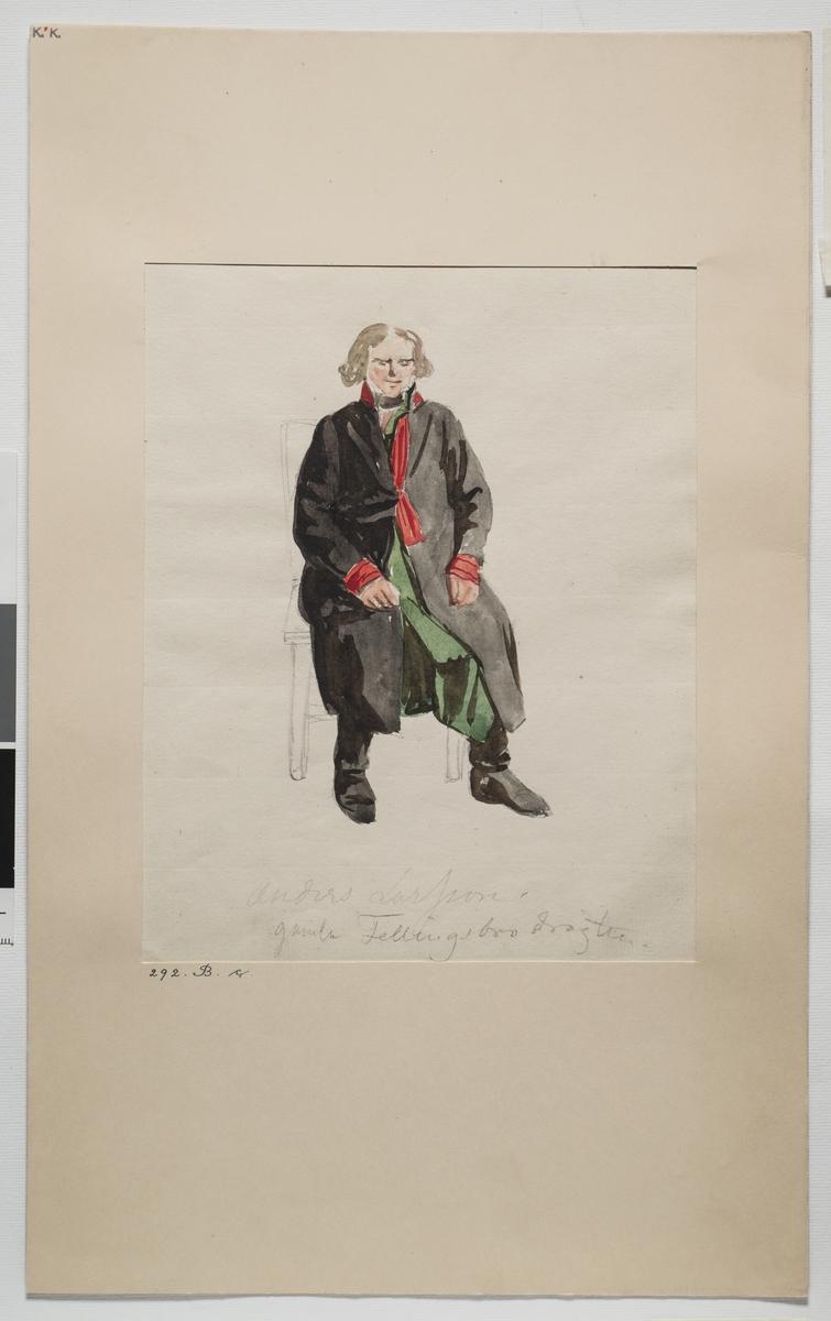 """Akvarell. """"Anders Larsson i gamla Fellingsbrodräkten"""". (sittande). Västmanland. Fellingsbro sn. Akvarell av J. W. Wallander"""