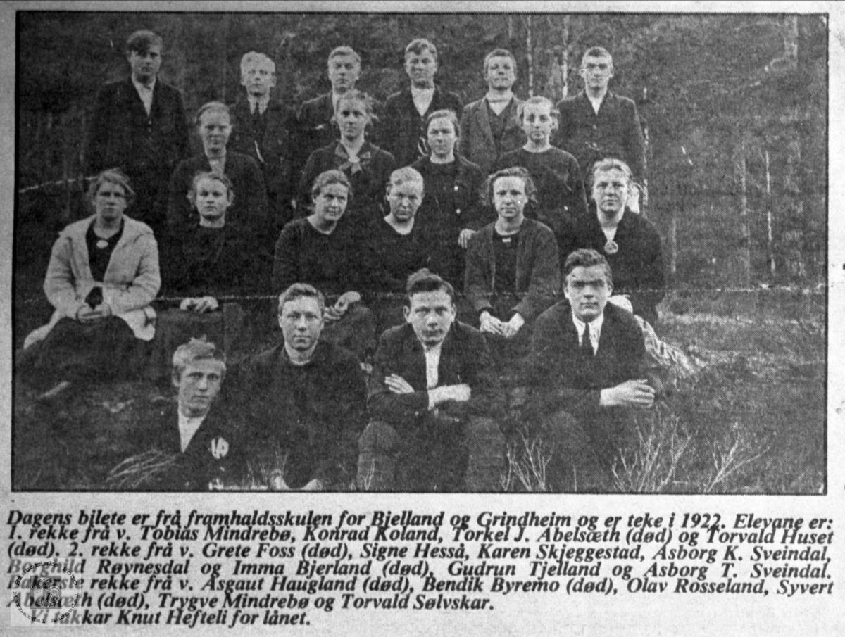 Framhaldskolen på Bjelland og Grindheim i 1922