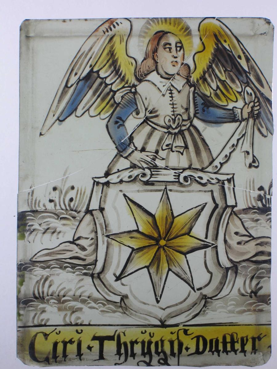 a) Stående allegorisk kvinneskikkelse, Fortuna  b) engel  c) fregatt, krigsskip