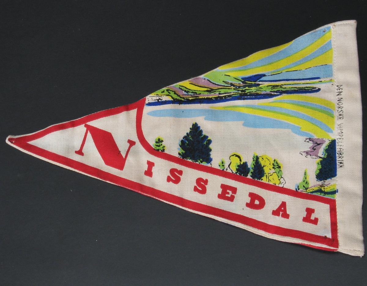 På den ene siden: det norske flagget. På den andre siden: landskap med fjell, vann, himmel, trær.