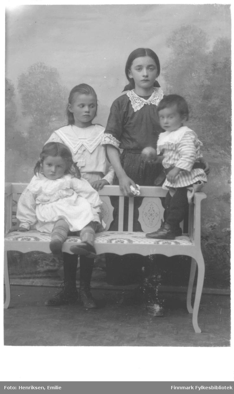 Portrett av ukjente barn, trolig søsken. De er alle kledd i kjoler med store blondekrager. De poserer ved og på en benk i fotostudio med malt landskapsbakgrunn. Piken som står bak til venstre har på seg en matroskjole. Piken ved siden av henne holder noe i hånden og har en sløyfe i nakken. Det lille barnet (gutt?) i stripete klær holder en ball i hånden. Jenta som sitter på benken har fletter i håret, strømper og sko og etter både uttrykk og kroppsspråk å dømme er hun litt utålmodig og lei av å sitte stille. Klærne tyder på at bildet er tatt i starten av 1900-tallet.