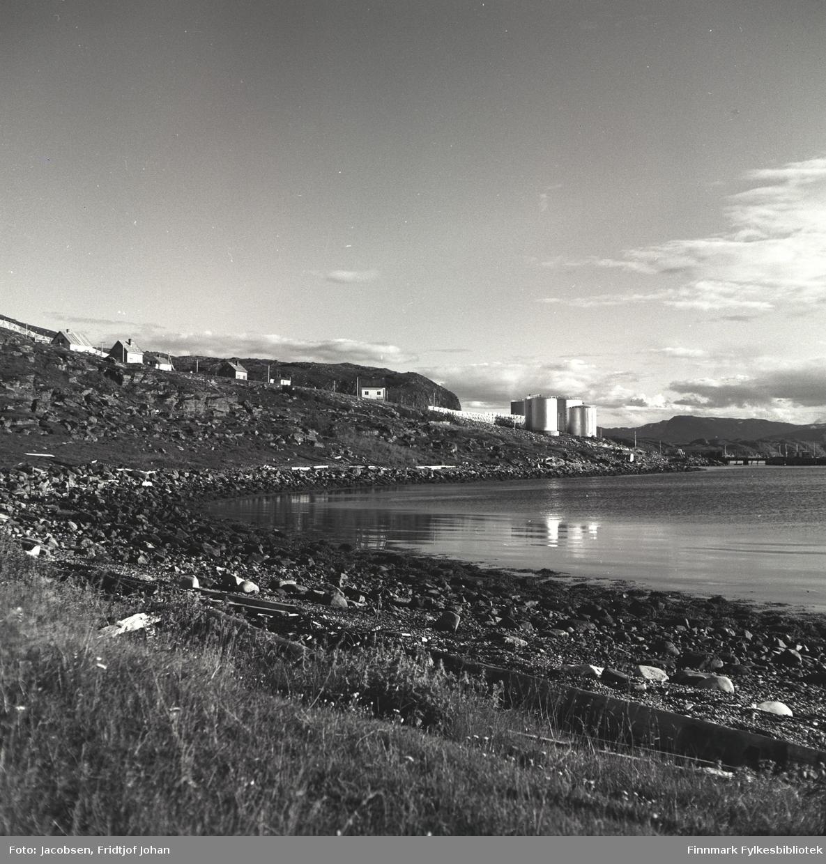 Shells tankanlegg på Stornes i Rypefjord. Noen bygninger står langs Fjordaveien som går forbi Storneset. Der står også endel el-stolper på rekke og rad. En snøskjerm ses helt til høyre på bildet. Noe gress står i terrenget rett foran fjæra og sjøen er ganske stille i havna.