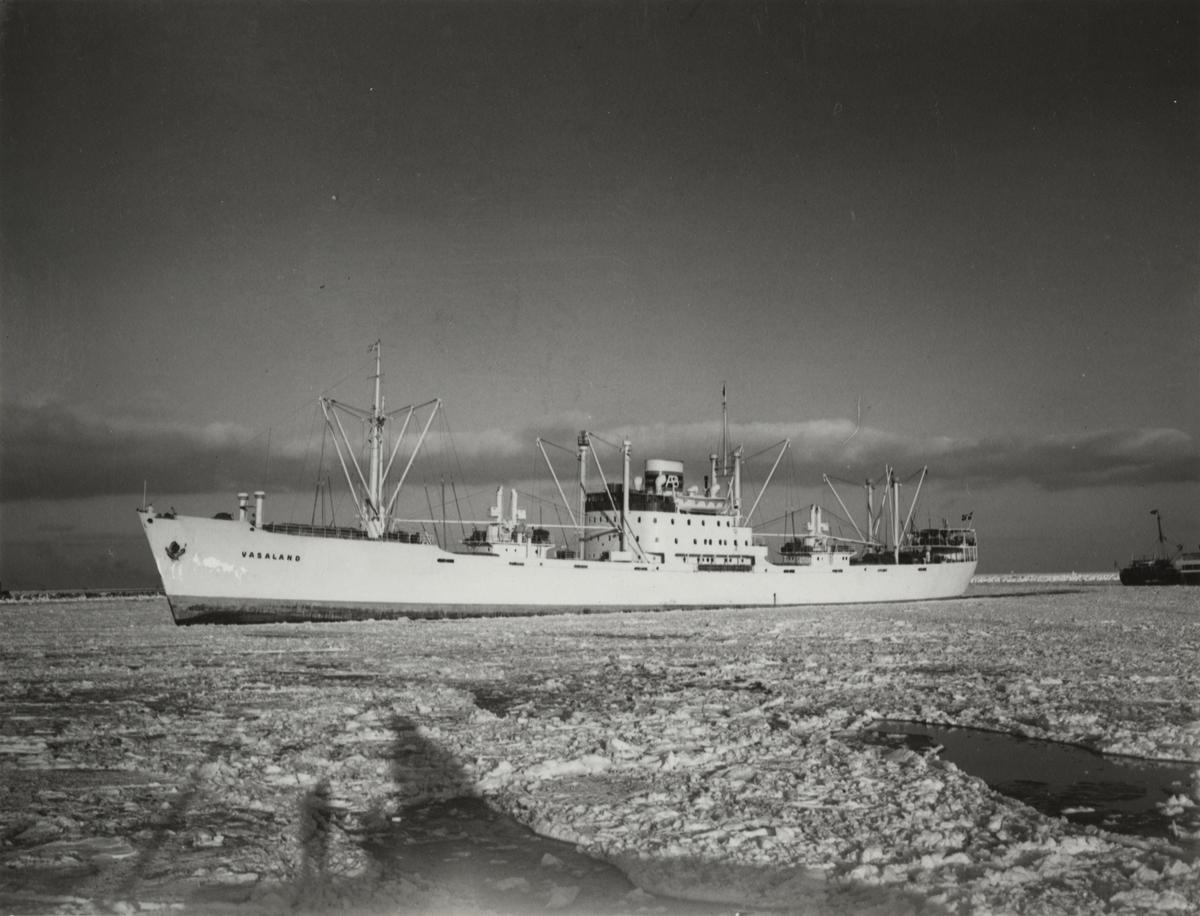 """Foto i svartvitt visande lastmotorfartyget """"VASALAND"""" taget i Köpenhamn år 1953."""