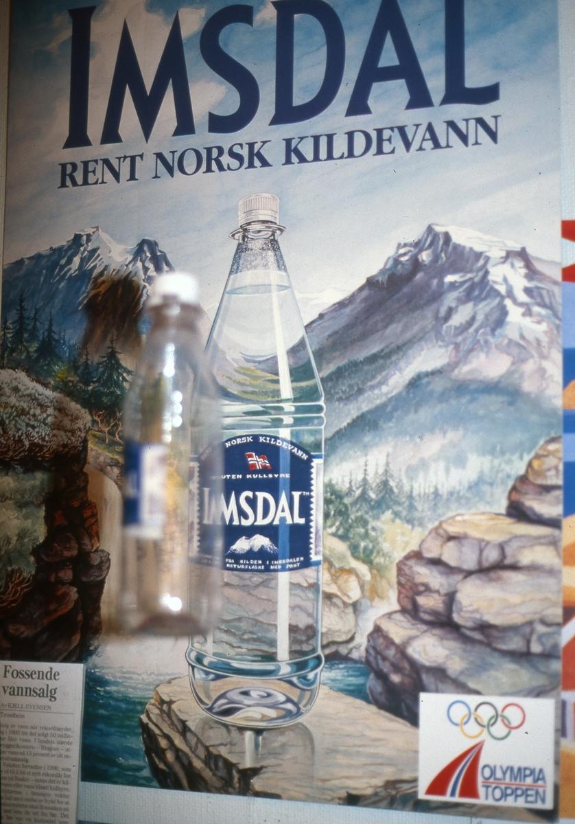 """Utstillingen """"Sjokkselgere og melkepapp"""" 1996 - 97.  Butikkplakat Imsdal vann på flaske"""