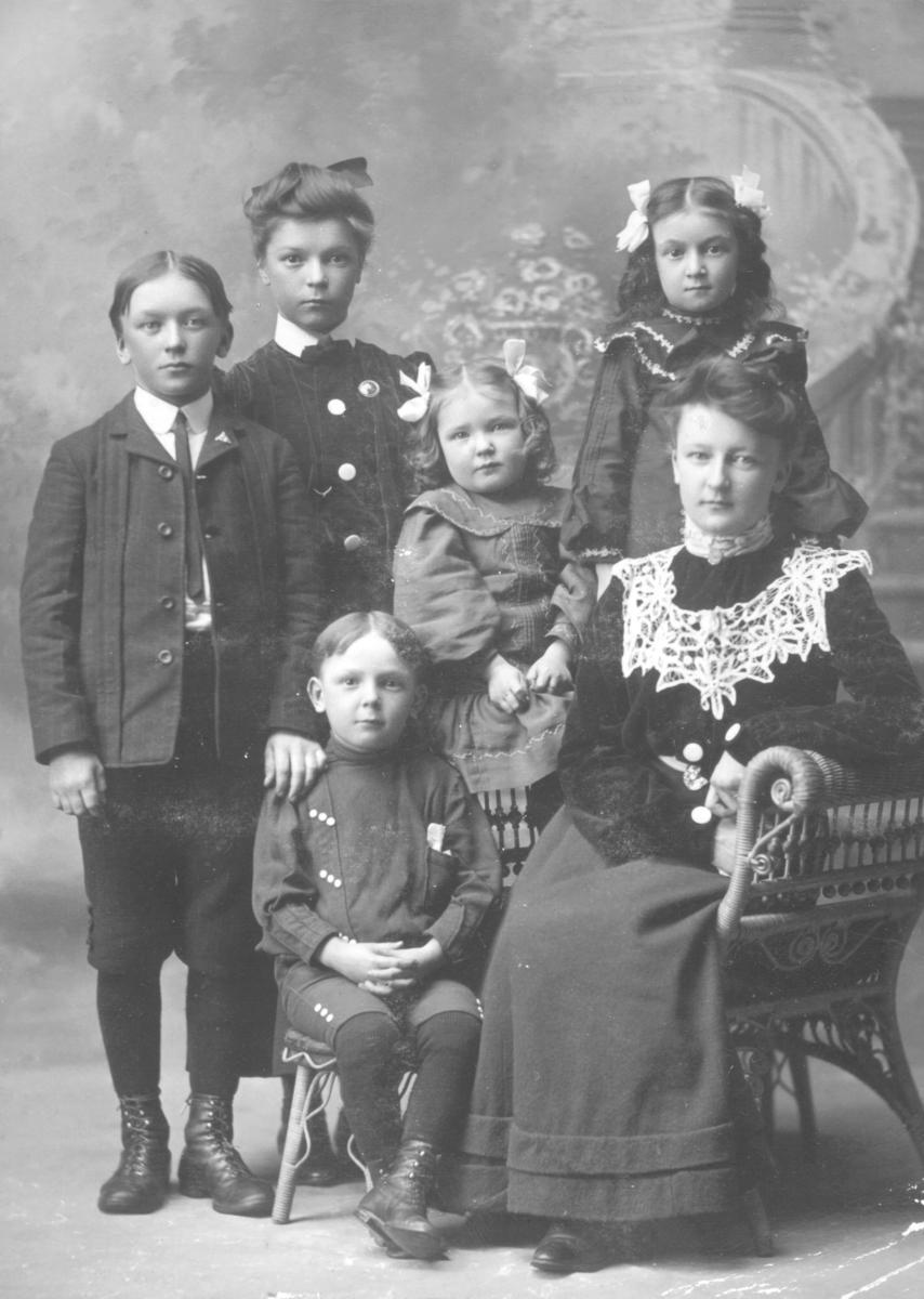 Mor med fem barn fotografert i fotostudio i Laurium, Michitgan Usa. Dette er Hilda Caroline (f. Niva) og hennes barn. Fra venstre Robert Arthur (f. 1890), bak han står Anges Elise (f. 1886), Harold Ferdinand i stolen (f. 1897), Jennie Marie (f. 1899) i midten og bak moren er Clara Hildegard (f. 1895). Hilda Caroline var gift med Robert Olofsson Tervahauta fra Alta? Han var født i 1859 og døde i Detroit, Wayne co. i Michigan i 1913. Hilda Caroline er datter av Johan Johansen Niva fra Karungi i Sverige og moren Kaisa Marie Jonas som var født i Kåfjord.   Hilda Caroline emigrerte med sine foreldre til Calumet i Michigan og giftet seg med Robert i Calumet i 1884. Hilda Caroline sitter på en kurvstol, piken Clara står på stolen bak sin mor og den minste datteren Jennie sitter på armlenet. Den lille gutten Harold (ca 6 år),  sitter på en liten kurvstol ved sidan av sin mor. De to eldste barna, sønnen Arthur og datteren Agnes står lengst til venstre i bildet,  sønnen står fremst og datteren bakerst. Bildene i denne serien er fra Olga Marie Pedersens album.