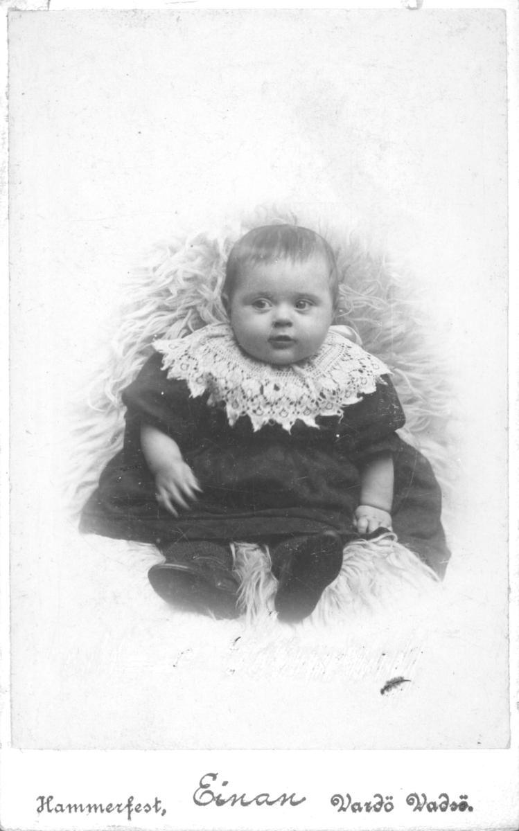 """Portrett av en lite barn. Babyen sitter på en sauskinn på en stol og er kledd i en mørk kjole med en stor hvit krage. Bak på bildet står det notert """"1 aar"""", men barnet er ikke navngitt. Bildet er trolig rosatonet. Bildet er tatt av fotograf Einan, med virke i Hammerfest, Vardø og Vadsø, iflg. visittkortfotografiet."""
