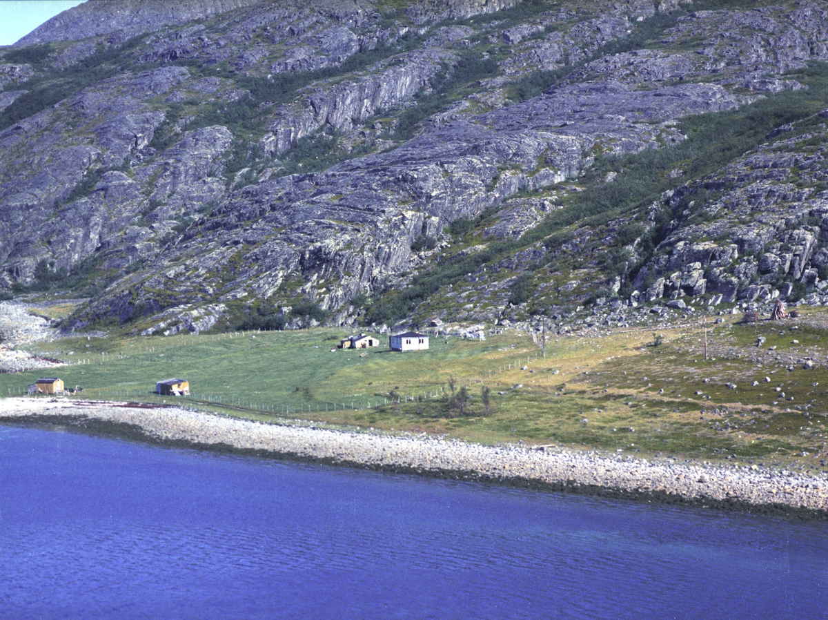 Flyfoto fra Friarfjord. Negativ nr. 122682. Kunden var Johan R. Johansen i Friarfjord.    Fargekopi finnes i arkivet.