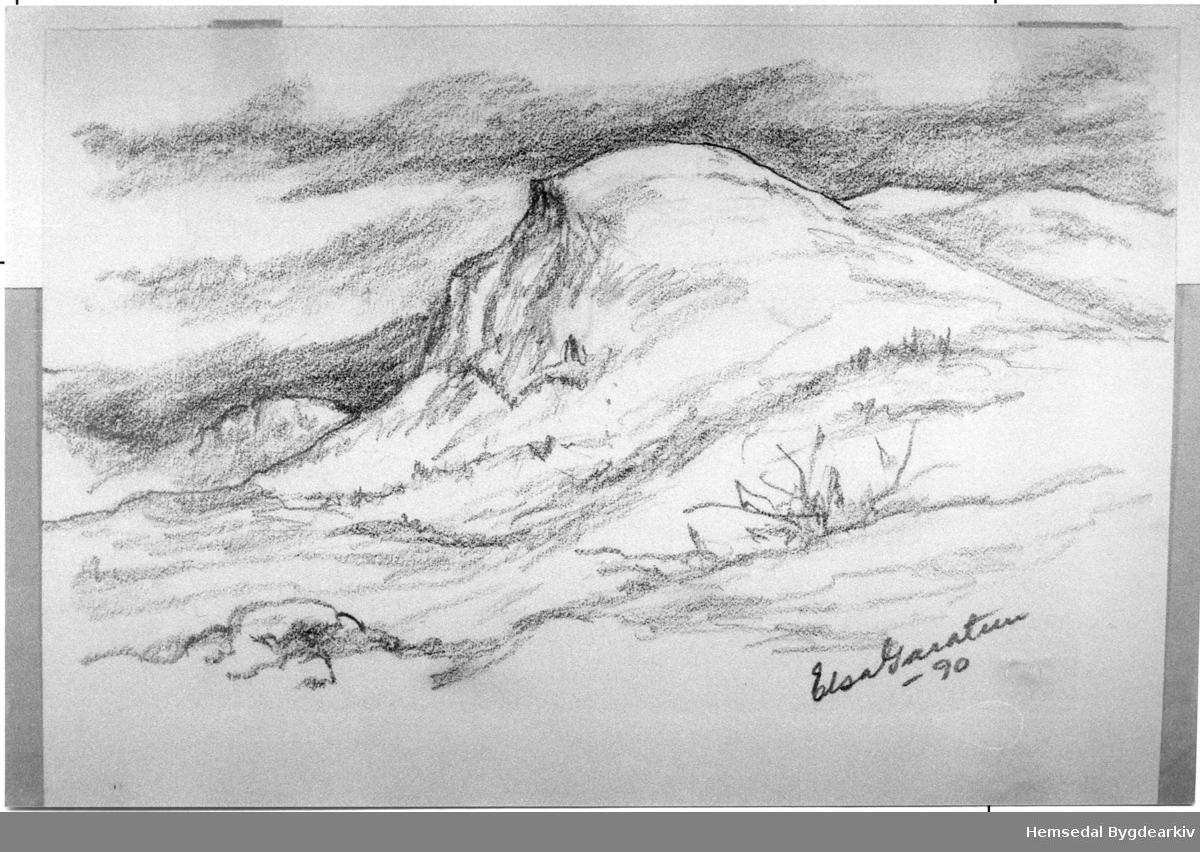 Teikning, 13cm x 18cm av Elsa Garatun, 1990.