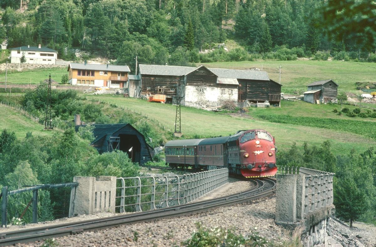 NSB persontog 353 Dombås - Åndalsnes med NSB dieselelektrisk lokomotiv Di 3 642 kjører over Kylling bru.
