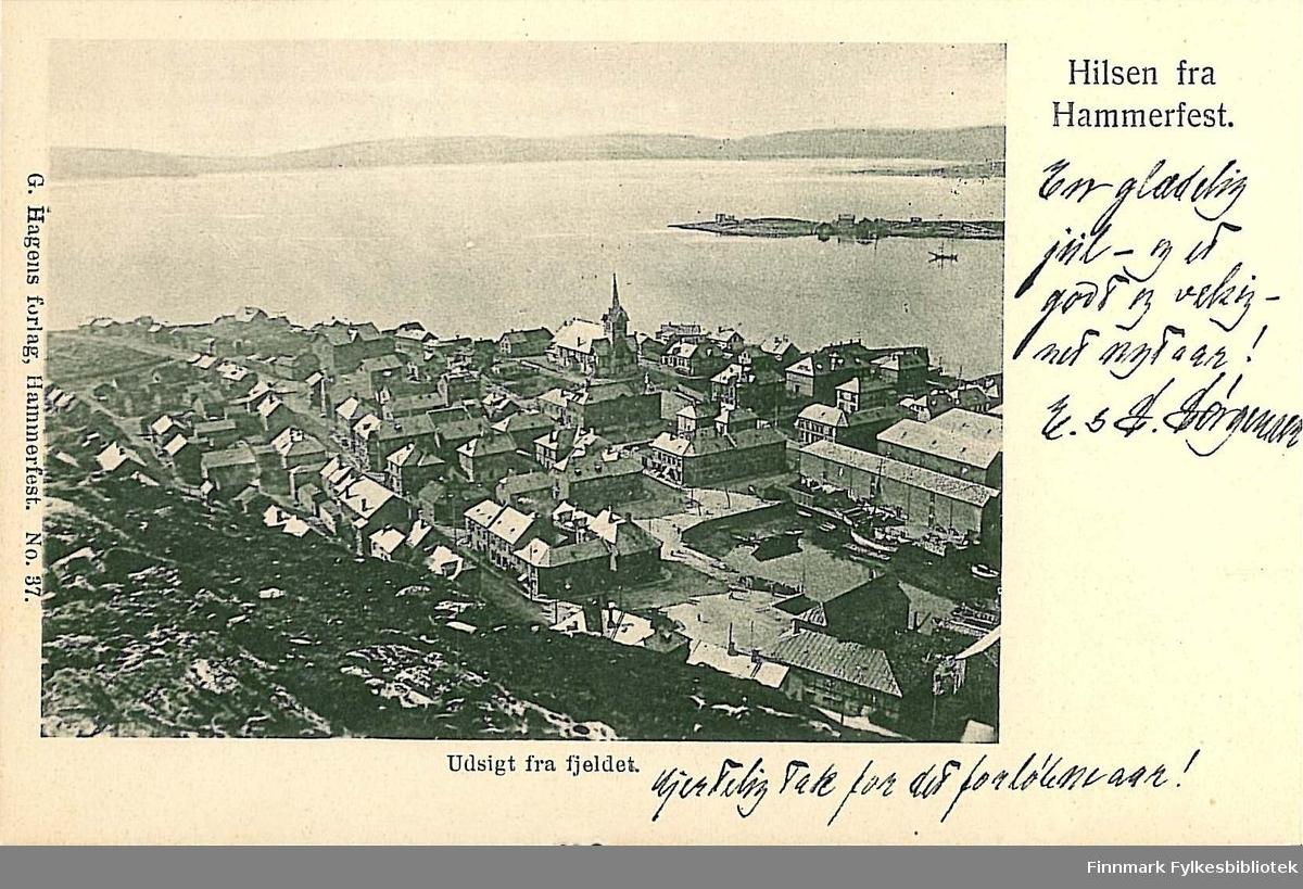 Postkort med motiv fra Hammerfest sett fra fjellet Salen. Kortet er en jule- og nyttårshilsen til Arthur og Kirsten Buck på Hasvik. Kortet er sendt fra Hammerfest i 1904.