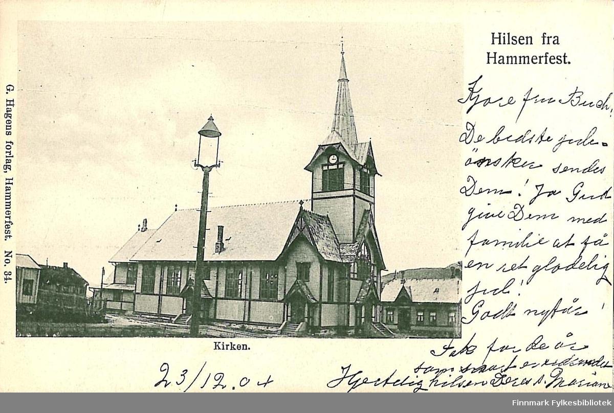 Postkort med motiv av Hammerfest kirke. Kortet er en jule- og nyttårshilsen til Kirsten Buck på Hasvik og er sendt fra Hammerfest lille-julaften 1904.