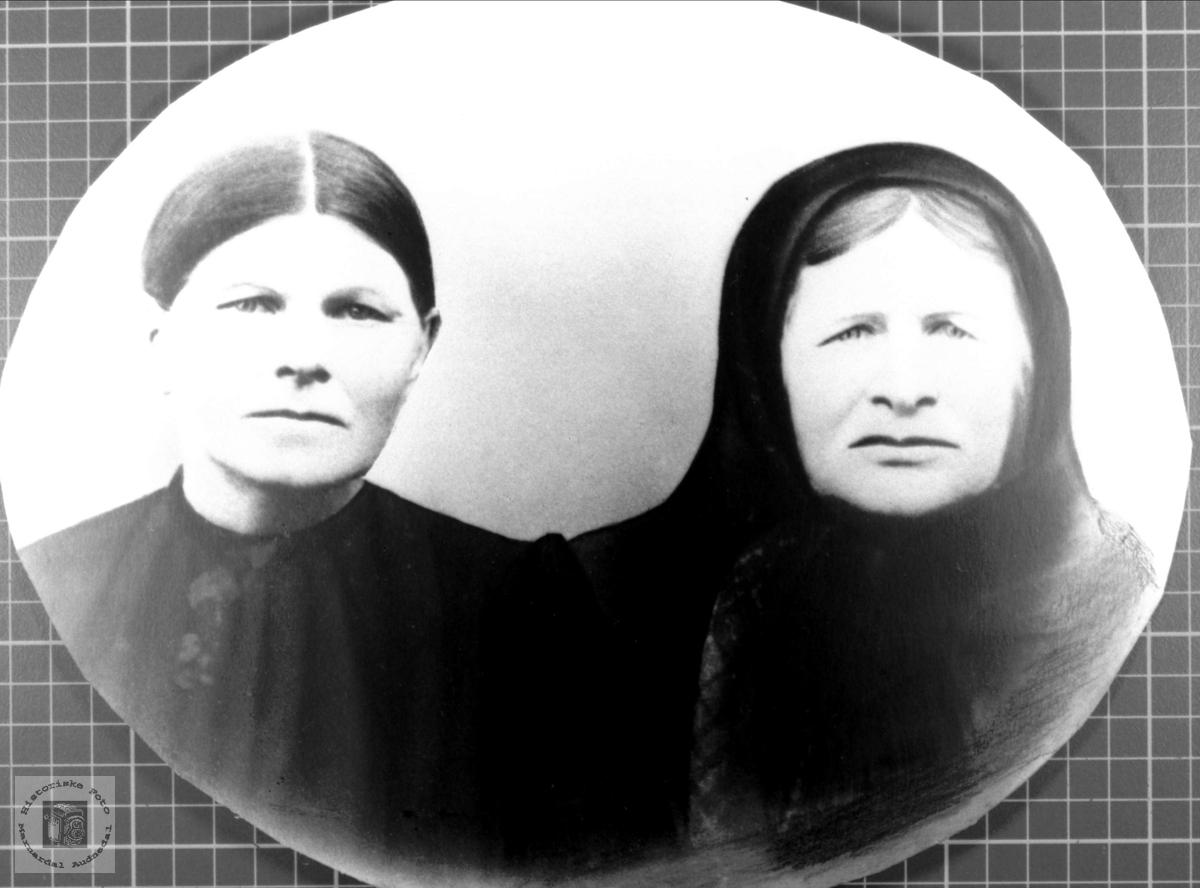 Portrett av mor og datter fra Grindheim.