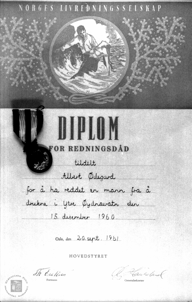 Diplom for redningsdåd