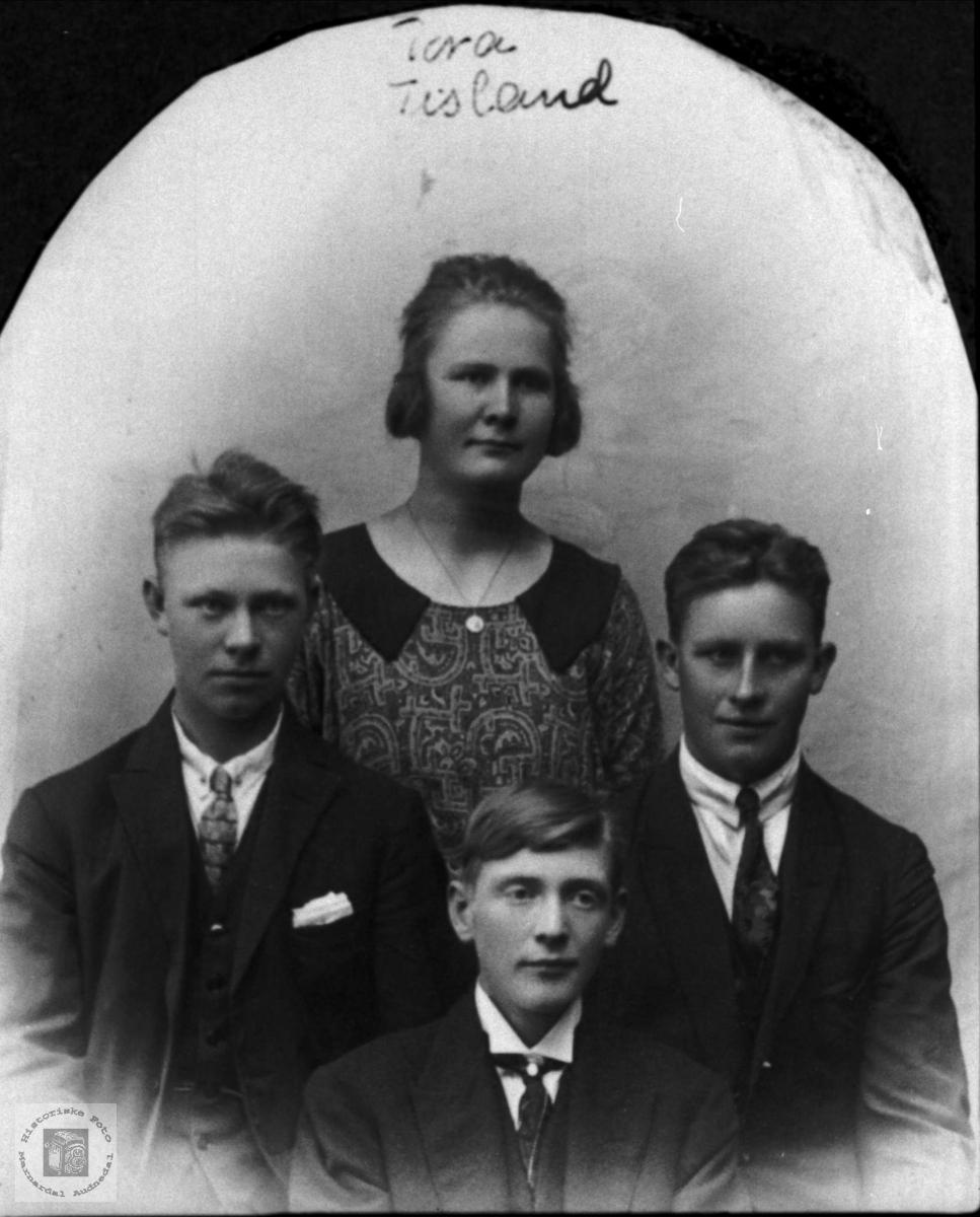 Kvartett. Johan Tisland, Tora og Søren Tisland og Salve Skuland.