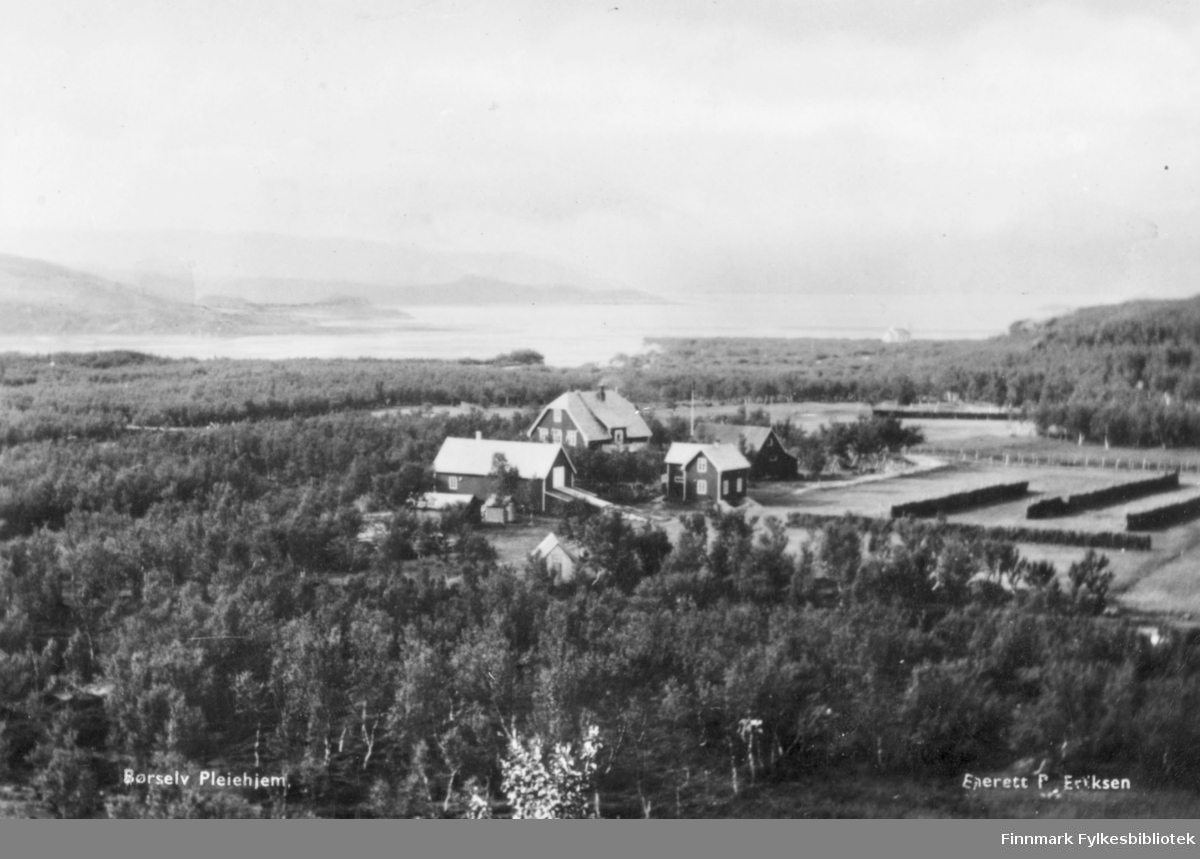 oversiktsbilde av Børselv pleiehjem. På bilde kan man se flere bygninger omringet av skog. I bakgrunnen kan man se fjell og vann.