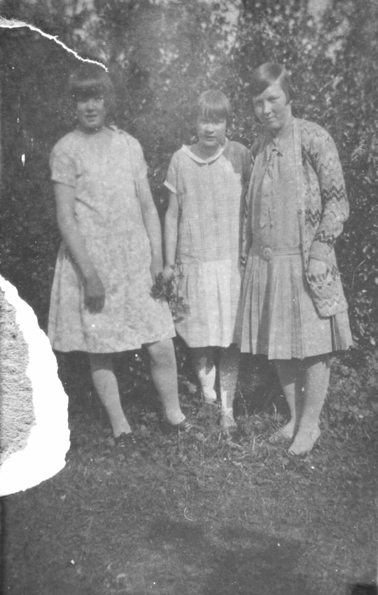 Tre jenter fotografert på en gresslette en sommerdag. Sted og personer er ukjent, men bildet kan være tatt i Kvalsund kommune.
