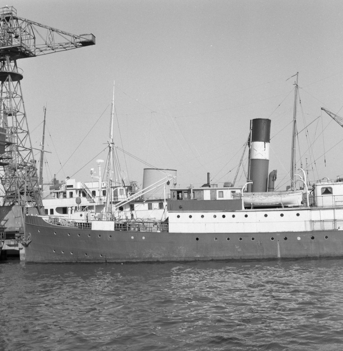DS Hustel, tidligere DS Sandnæs og DS Soma, som losjiskip ved Nylands Verksted i Oslo.