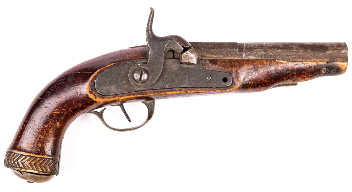 Pistol, mynningsladdare, 1800-talets början.