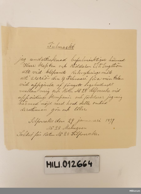 Soldatkontrakt (samtida avskrift), skriven på tunnt papper.