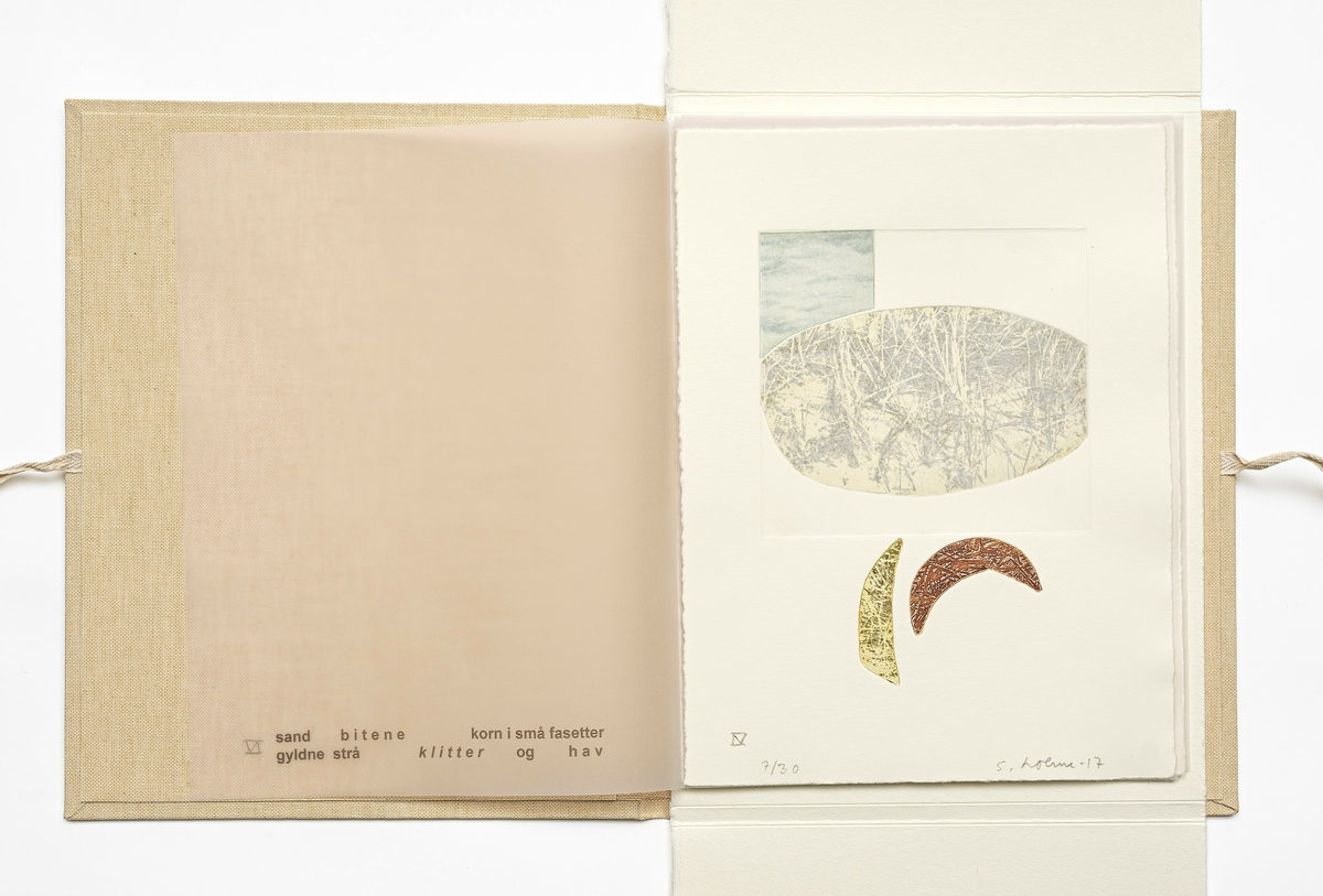 Grafikkmappe med 8 grafiske blad og tekst av kunstneren