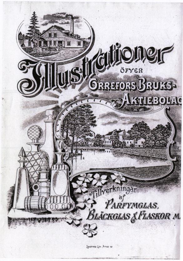 """Priskurant """"Illustrationer öfver Orrefors Bruks-Aktiebolag Tillverkningar af Parfymglas, Bläckglas & Flaskor m.m."""" Orrefors glasbruk 1908 Nedladdningsbar under """"Länkade filer""""."""