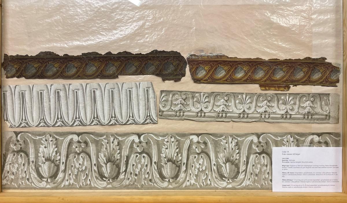 Ett tjugotal fragment, placerade i fyra hurtslådor. 1800-tal.