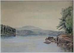 Motiv från sjön, Uppland [Akvarellmålning]