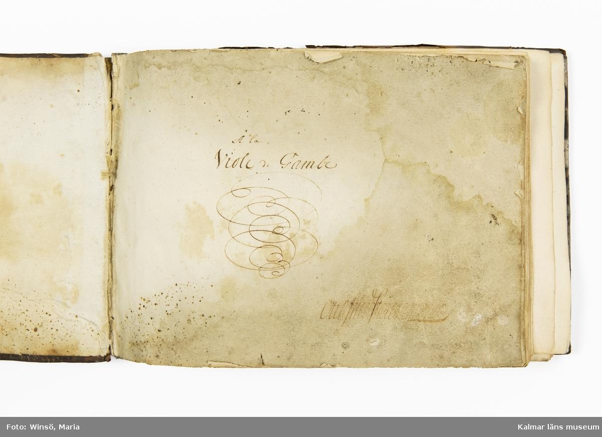 KLM 21068. Notbok, handskrift. 34 blad (88 sidor). Tvärformat. Brunt helt skinnband med präglad gulddekor på på ryggen. På pärmens insida en namnteckning: O:F:Stålhammar, samt påklistrad reklametikett i kopparstick för pappershandlare Maingueneau i Paris 1697. På försättsbladet stämplat i svart med Ståhammarska vapnet.   Handskriften påbörjad från bokens båda sidor. Den första delen består av tabulaturer för barockluta (bild 8-30 illustrerar denna delen av boken). På försättsbladet till andra delen av boken: A la Viole de Gambe samt Otto Fried Stålhammar (bild 31 och framåt illustrerar denna delen av boken).