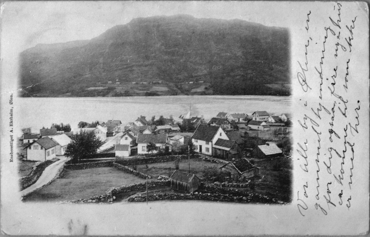 Landskap frå Ølen sett mot nordaust, 23. desember 1905. Ølsjøen og Bygdarenuten i bakgrunnen.