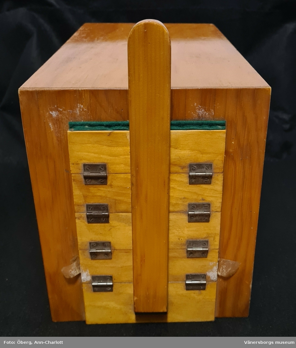 """Handbyggd kontaktkopieringsapparat. Tillverkad i trä. Luckan låses fast med en metallklämma. Luckan är försedd medd olika nivåer. Innanför finns det en grön filt och innanför det en opak glasskiva. Inne i apparaten finns det två glödlampor, en röd och en klar lampa. Den röda användes för inställning och den """"vanliga"""" för exponering.  Glasskivan (vit) ligger löst, fastpressad mellan filten på träribborna och list på lådan. Glasskivan behöver lyftas när glödlamporna skall bytas."""