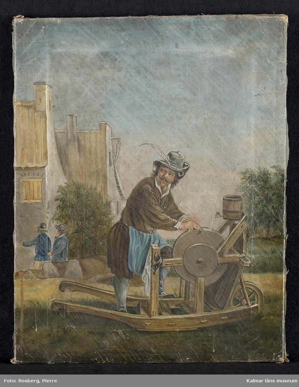 KLM 10656. Tavla, oljemålning. Olja på duk. Motivet föreställer en skärslipare med slipsten och kärra. I bakgrunden byggnader, träd samt två människor. Saknar ram.