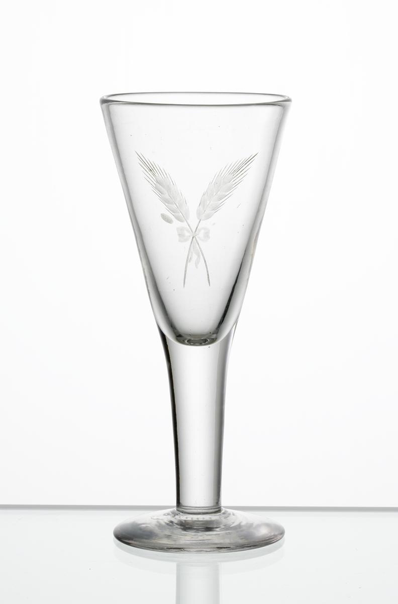 Brännvinsglas, konisk kupa med graverat motiv i form av två korslagda sädesax sammanbundna med en rosett, på kupan.