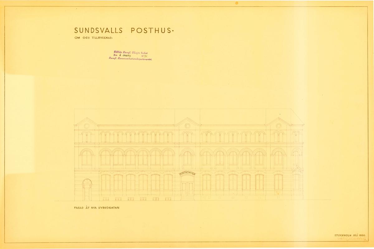 Om- och tillbyggnad av posthus i Sundsvall.