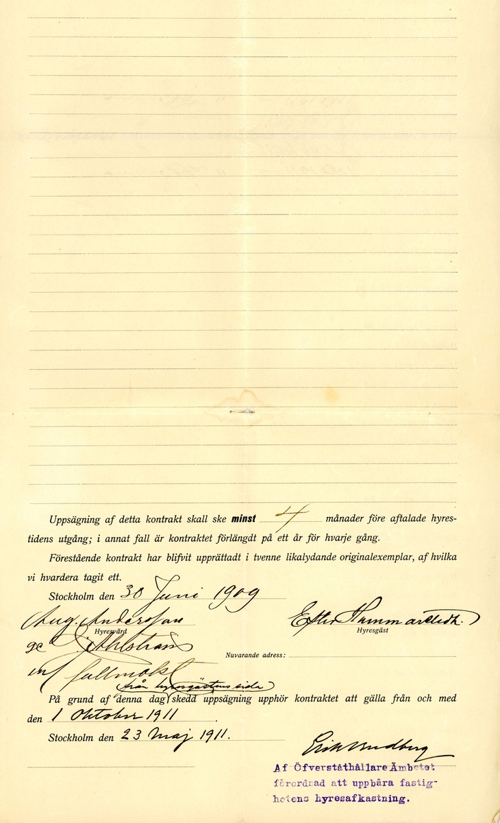 Ett hyreskontrakt för en lägenhet till Ester Hammarsedt från oktober 1909 till oktober 1911. Lägenheten hyrdes ut som bostad. Bostaden låg på kvarteret Flygaren och tillhörde Alolf Fredriks församling. Lägenheten hade sju rum och kök och tambur med en årshyra på 1700 kronor, där 425 kronor skulle betalas in varje kvartal.  1700 kronor år 1909 kunde köpa lika mycket varor och tjänster som 95 784 kronor år 2021 mätt med konsumentprisindex. Se historicalstatistics.org för liknande uträkningar.