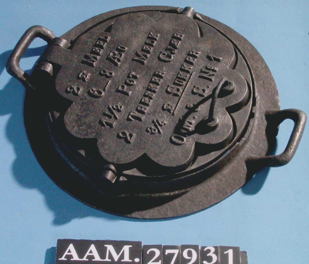 Vaffeljern til bruk på jernkomfyr.