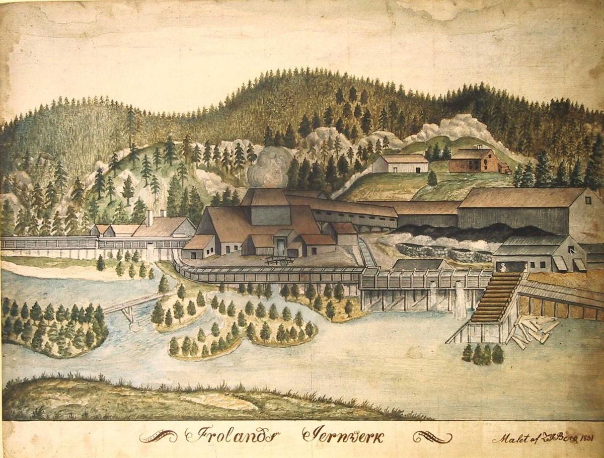 Frolands Jernverk, 1831  (gnr. 20 bnr. 1.  I forgrunnen elv med granvokste småøyer, på elvebredden i mellomgrunnen jernverket med smelteovnen i midten, langs elven vannrenner. I bakgrunnen skogkledte åsen og en bondegård.