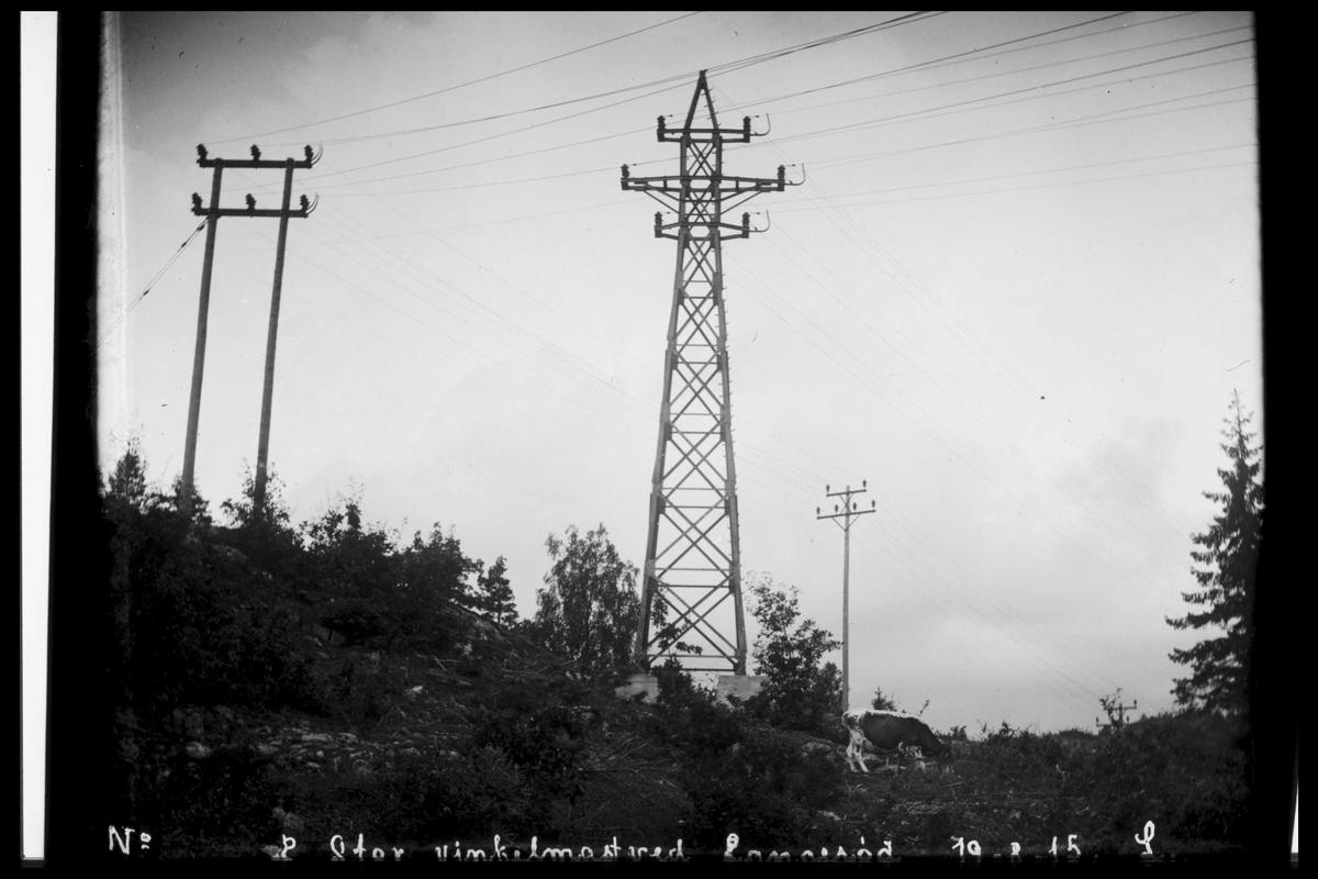 Arendal Fossekompani i begynnelsen av 1900-tallet CD merket 0565, Bilde: 86 Sted: Bøylefoss høyspentlinjer Beskrivelse: Langerødvinkelen